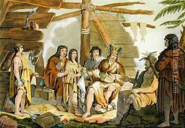 Indians trading with La Perouse in Canada Oil Painting - G. Bramati