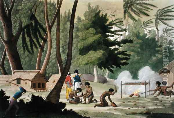 Papu tribe on the Isle of Rawak, plate 20 from 'Le Costume Ancien et Moderne' Oil Painting - G. Bramati