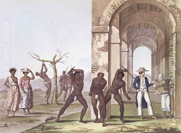 Plantation in Surinam, illustration from 'Le Costume Ancien et Moderne' c.1820 Oil Painting - G. Bramati