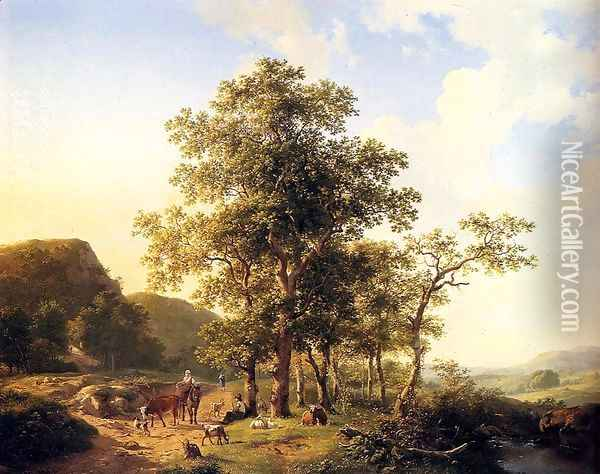 Wooded landscape with peasants and animals Oil Painting - Hendrikus van den Sande Bakhuyzen