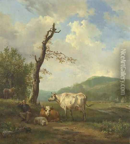 A hilly landscape with a shepherd and his flock resting by a tree Oil Painting - Hendrikus van den Sande Bakhuyzen