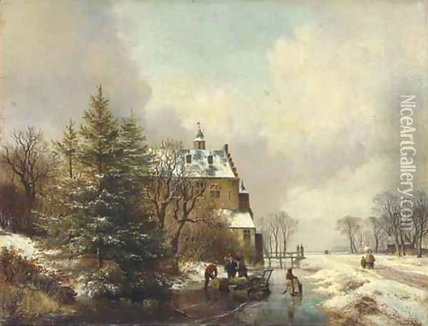 Gathering timber on the ice by a country house Oil Painting - Hendrikus van den Sande Bakhuyzen