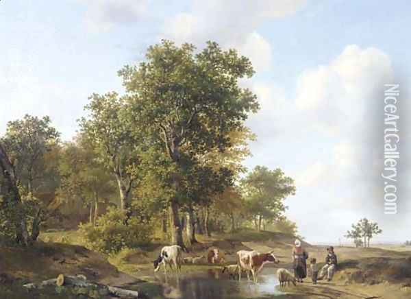 Peasants conversing at the edge of a forest on a sunny day Oil Painting - Hendrikus van den Sande Bakhuyzen