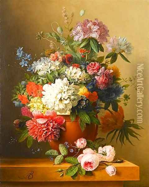 A still life of peonies, roses, honeysuckle, poppies, a crown imperial, rhododendrons and other flowers in a terracotta urn on a ledge Oil Painting - Arnoldus Bloemers