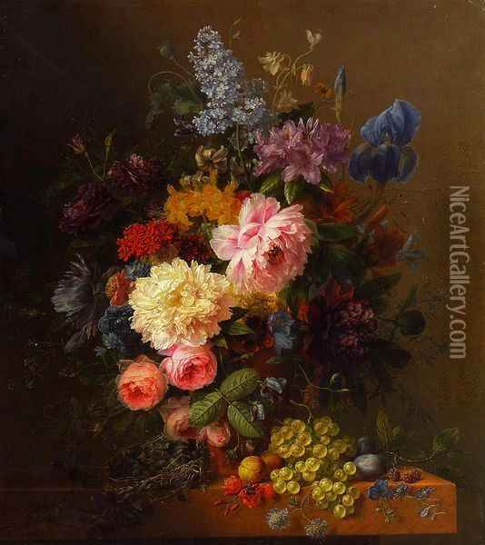 Peonies, Roses, Irises, Lilies, Lilac and Other Flowers in a Vase on a Ledge Laden with Fruit Oil Painting - Arnoldus Bloemers
