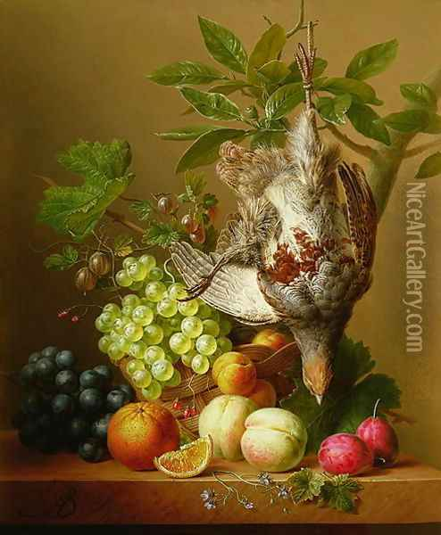Still Life with Fruit and a Dead Partridge Oil Painting - Arnoldus Bloemers