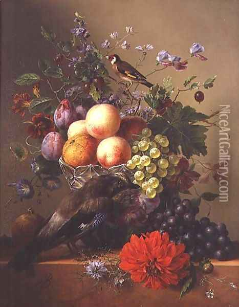 Still life with fruit and flowers Oil Painting - Arnoldus Bloemers