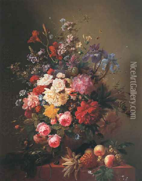 Summer flowers in an urn with fruit and game on a marble ledge Oil Painting - Arnoldus Bloemers