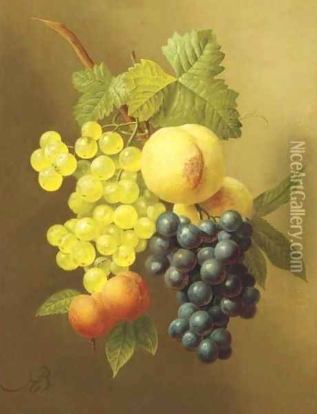 A swag of peaches, grapes and apricots Oil Painting - Arnoldus Bloemers