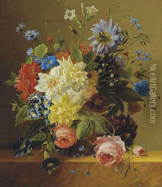 An opulent flower still life Oil Painting - Arnoldus Bloemers