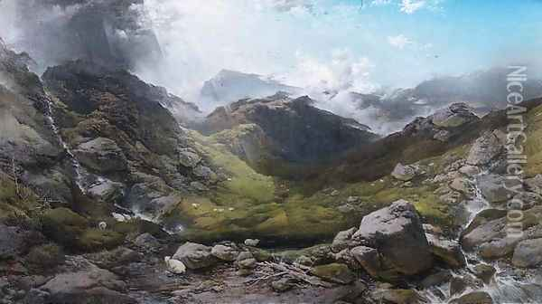 Clouds passing over Ben More, 1870 Oil Painting - Henry Bright