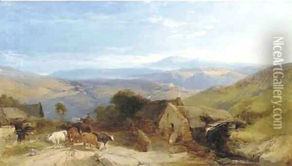 Scene in the Scottish Highlands, afternoon effect Oil Painting - Henry Bright