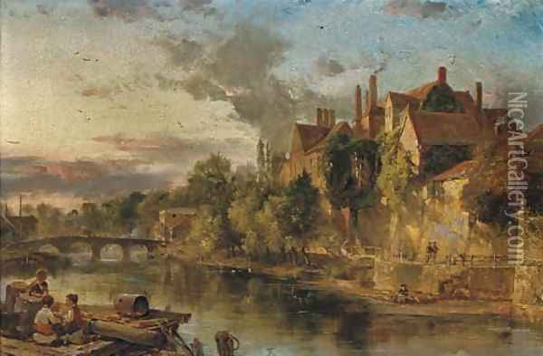 The Old Bridge and Ancient Palace on the Medway at Maidstone Oil Painting - Henry Bright