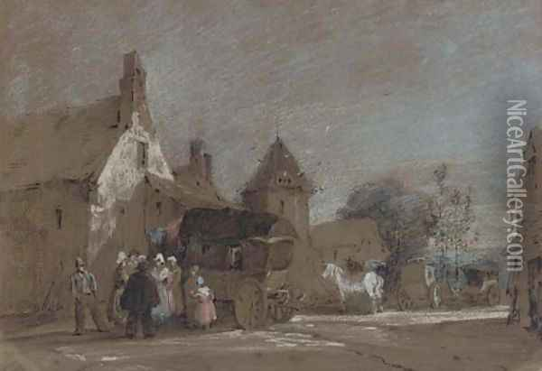 Figures disembarking from a carriage in a French village Oil Painting - Henry Bright