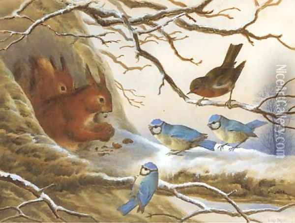 Red squirrels eating nuts on a snow covered branch before an audience of blue tits and a robin Oil Painting - Henry Bright