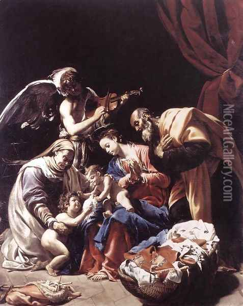 Holy Family with St Elizabeth, the Young St John the Baptist and an Angel c. 1609 Oil Painting - Orazio Borgianni