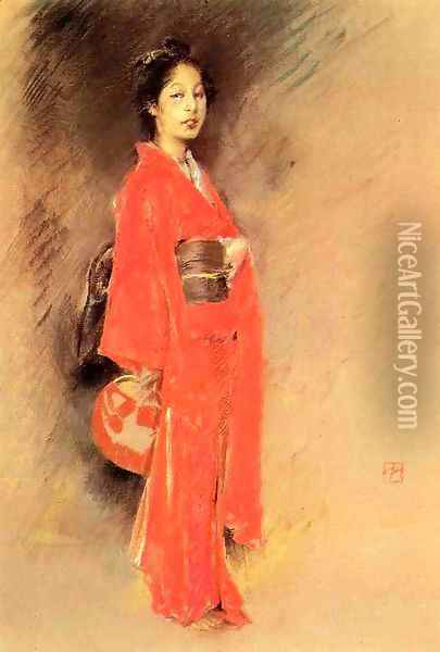 A Japanese Woman Oil Painting - Robert Frederick Blum