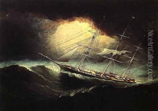 Ship In A Storm Oil Painting - James E. Buttersworth