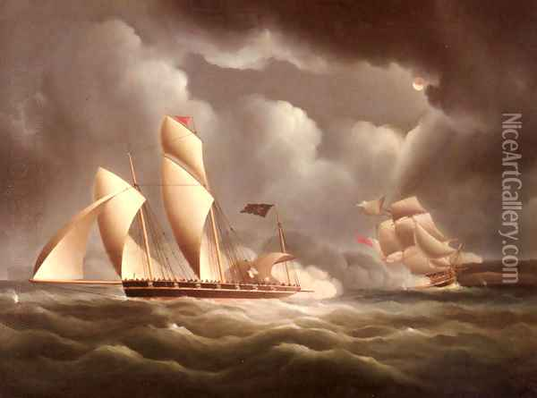 A British Frigate Attacking A Pirate Lugger At Night Oil Painting - James E. Buttersworth