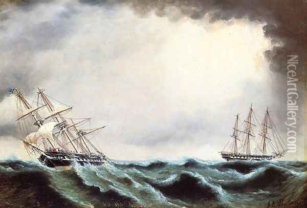 Two Clipper Ships Oil Painting - James E. Buttersworth