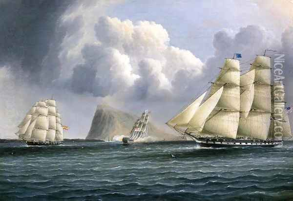 American Frigate off Gibralter Flying a Commodore's Pennant Oil Painting - James E. Buttersworth