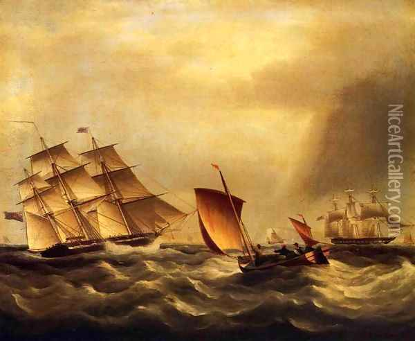 Shipping in Rough Seas Oil Painting - James E. Buttersworth