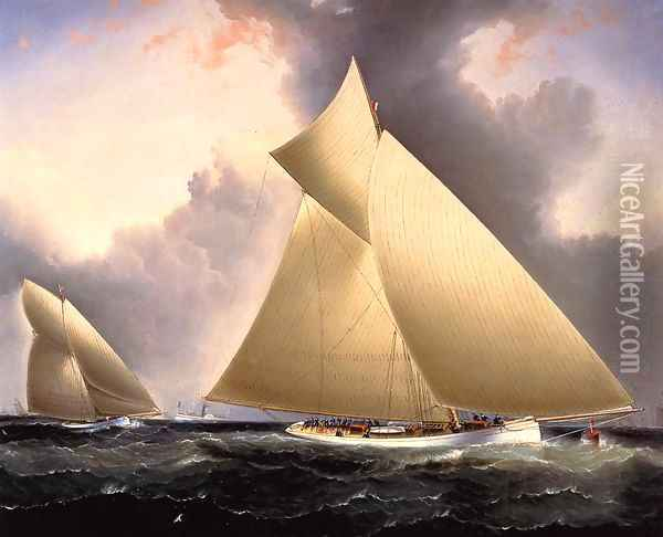 Mayflower Leading Galatea, America's Cup 1886 Oil Painting - James E. Buttersworth