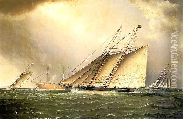 Yachts Rounding the Nore Light Ship in the English Channel Oil Painting - James E. Buttersworth