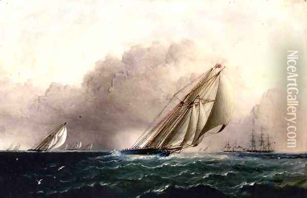 N.Y.Y.C. Schooner Yacht Estelle Running Home Oil Painting - James E. Buttersworth