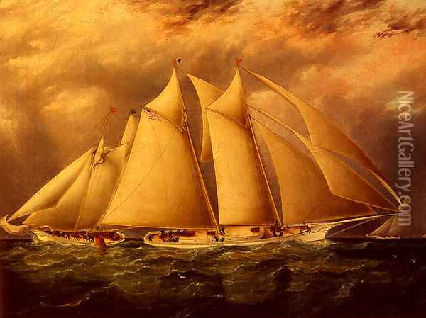Yacht Alice Rounding The Buoy Oil Painting - James E. Buttersworth