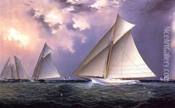 Mischief and Gracie America's Cup Trial Race, 1881 Oil Painting - James E. Buttersworth