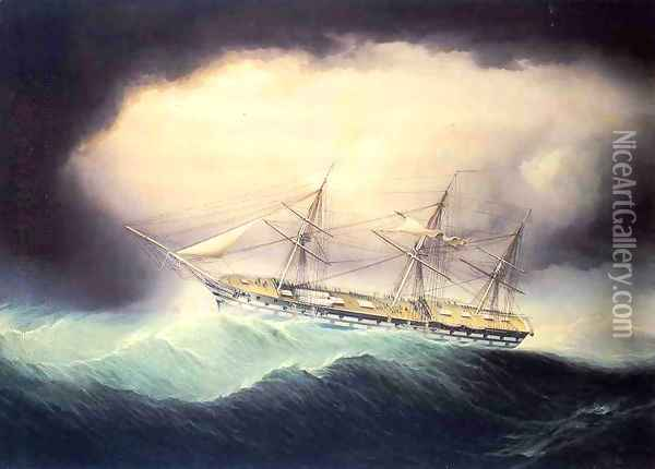 Ship of the Line USS Ohio Oil Painting - James E. Buttersworth