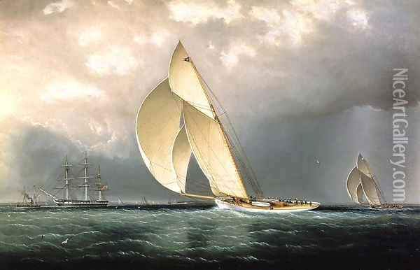 Volunteer Versus Thistle, America's Cup, 1887 Oil Painting - James E. Buttersworth