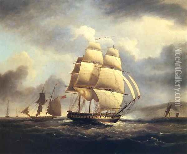 Frigate on the Thames Oil Painting - James E. Buttersworth