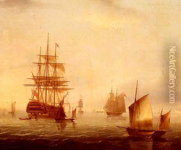 Sailing Vessels Off A Coastline Oil Painting - James E. Buttersworth