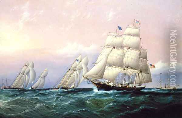 Racing off Sandy Hook Oil Painting - James E. Buttersworth