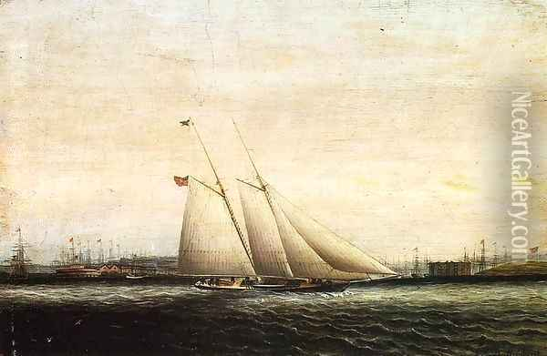 Two Masted Schooner Oil Painting - James E. Buttersworth