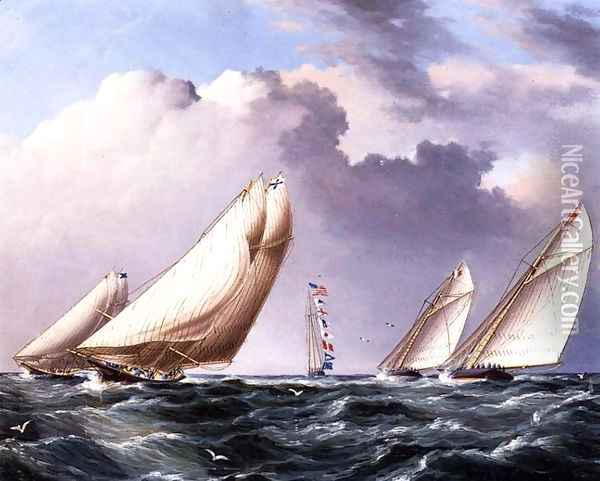 Yachts Rounding the Mark Oil Painting - James E. Buttersworth