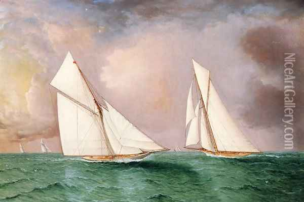 Vigilant and Valkyrie II in the 1893 America's Cup Race Oil Painting - James E. Buttersworth