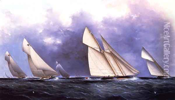 The Yacht Race I Oil Painting - James E. Buttersworth