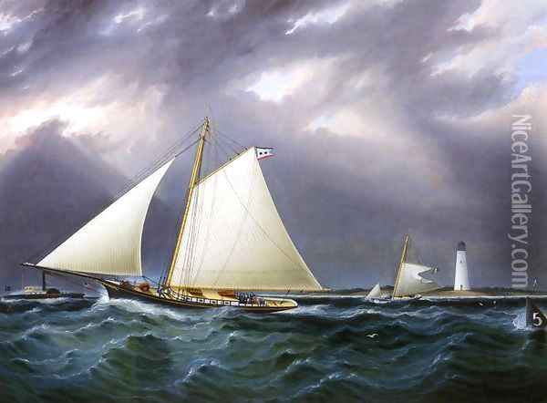 The Match between the Yachts Vision and Meta - Rough Weather Oil Painting - James E. Buttersworth