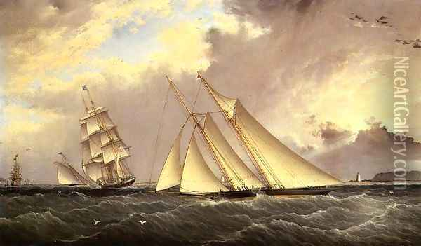 The Dauntless off Sandy Hook Oil Painting - James E. Buttersworth