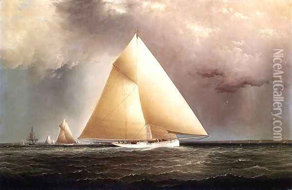 Gracie, Vision and Cornelia rounding Sandy Hook in the New York Yacht Club Regatta of June 11, 1874 Oil Painting - James E. Buttersworth