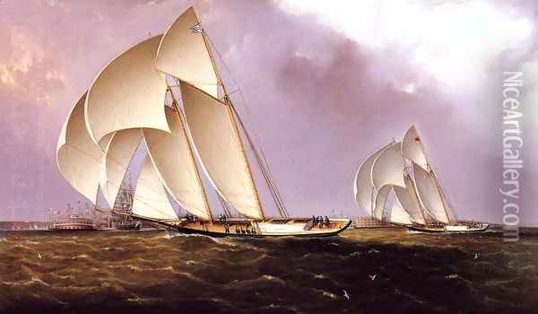 America's Cup Class Yachts Racing in New York Harbor Oil Painting - James E. Buttersworth