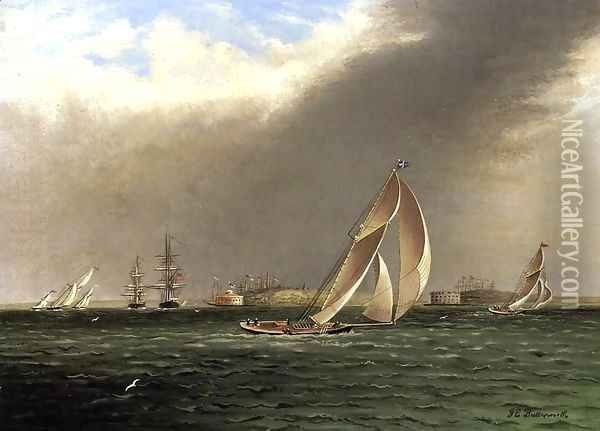 Yacht Racing off Castle Garden, New York Oil Painting - James E. Buttersworth