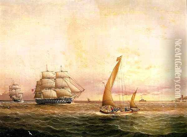 Two American Naval Vessels Entering Harbor Oil Painting - James E. Buttersworth