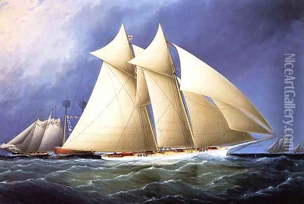 New York Yacht Club Schooner 'Columbia' Leading New York Yacht Club Schooner 'Dauntless' Rounding Sandy Hook Lightship in the Hurricane Cup Race Oil Painting - James E. Buttersworth