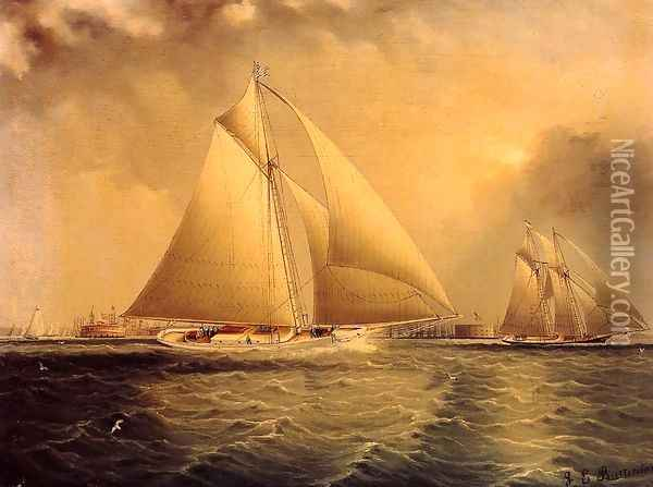 Yachting in New York Harbor Oil Painting - James E. Buttersworth