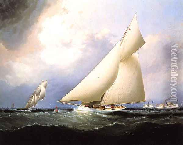 Puritan Leading Genesta, America's Cup, 1885 Oil Painting - James E. Buttersworth
