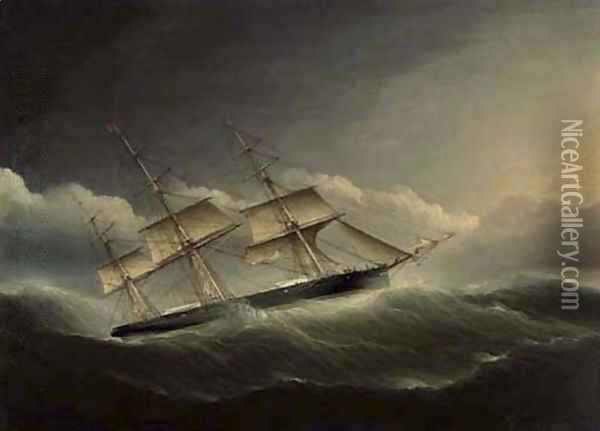 An American clipper ship battling through a hurricane under reduced sail Oil Painting - James E. Buttersworth